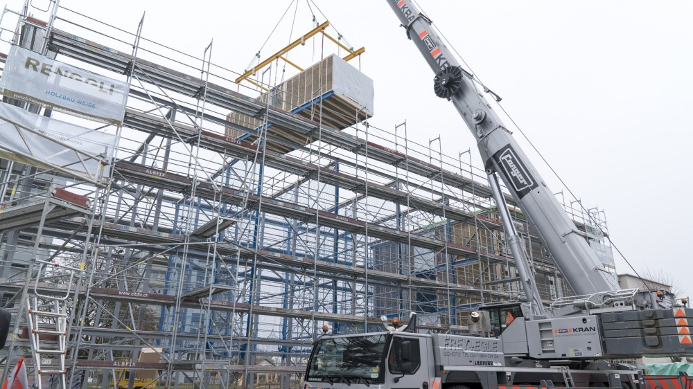 Fast on-site assembly: inserting the prefabricated timber modules into the steel structure.