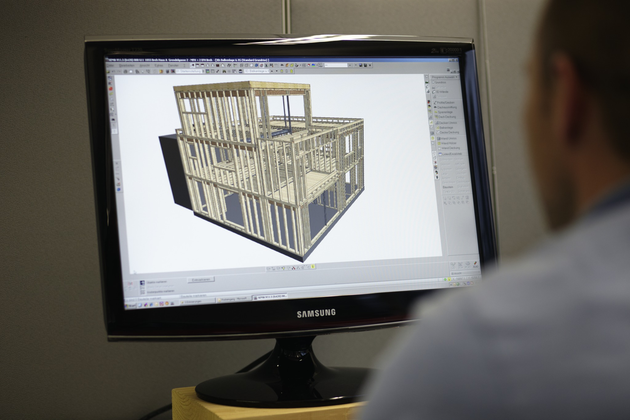 3D timber construction model on a screen