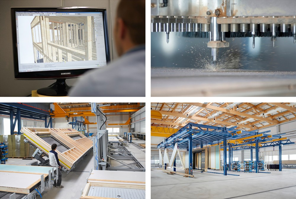 Four pictures showing production processes: top left shows an engineer using BIM at his computer screen; top right is a close-up of a CNC milling machine while being used in timber construction; bottom left is the butterfly machine for wall element production; bottom right is the station for element transportation